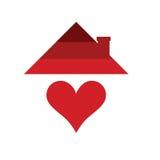 Haus mit Herzen in der rote Farbillustration Stockfotografie