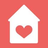 Haus mit Herzvektorikone Lizenzfreies Stockfoto