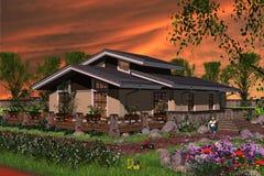 Haus mit Landschaftsgärten Stockfotografie