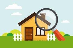 Haus mit Lupe Lizenzfreie Stockfotografie