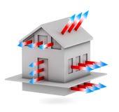Haus mit Pfeilen des Wärmeverlust Stockbilder