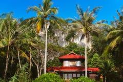 Haus mit rotem Dach in den Tropen Lizenzfreie Stockbilder