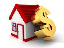 Haus mit rotem Dach und großem goldenem Dollarsymbol Stockbilder
