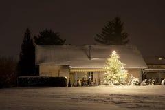 Haus mit Schnee und hohem Weihnachtsbaum nachts, Deutschland Stockfotografie