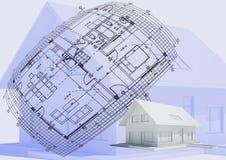 Haus mit Zeichnung lizenzfreie abbildung