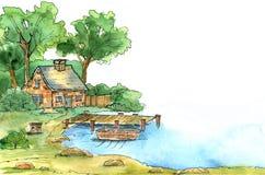 Haus nahe dem See Dekoratives Bild einer Flugwesenschwalbe ein Blatt Papier in seinem Schnabel Stockbilder