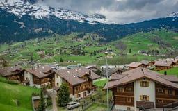 Haus-Naturlandschaft mit Mountain View stockbild