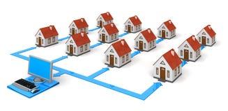 Haus-Netz mit Laptop Lizenzfreie Abbildung
