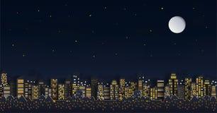 Haus oder Dorf und Stadtbild mit Gruppe Wolkenkratzern in der Nacht vektor abbildung