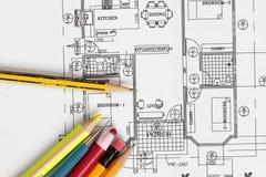 Haus-Plan Stockbild