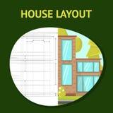 Haus-Plan-flache Vektor-Fahnen-Schablone lizenzfreie abbildung