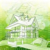 Haus, Pläne u. grüner Hintergrund Stockfotografie
