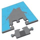 Haus-Puzzlespiel lizenzfreie abbildung