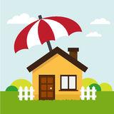 Haus schützen darunter sich vom Regenschirm Lizenzfreie Stockfotografie