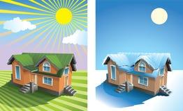 Haus am Sommer und am Winter Stockfotos