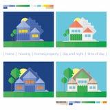 Haus Tag und Nacht stockfoto