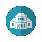 Haus traditioneller ausführlicher modernn Blaukreis Lizenzfreies Stockbild