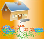 Haus u. Blumen Lizenzfreie Stockfotografie