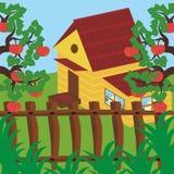 Haus und Apfelgarten Stockbilder