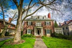 Haus und Bäume in Toskana - Canterbury, Baltimore, Maryland Stockfotografie