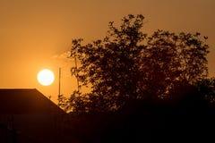 Haus und Baum bei Sonnenuntergang Stockfotografie