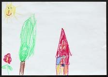Haus und Baum und Blume Kind `s Zeichnung Lizenzfreie Stockfotos