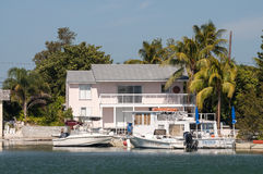 Haus und Boote in Key West Stockfotografie