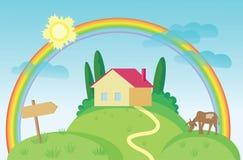 Haus und eine Kuh lizenzfreie stockfotos