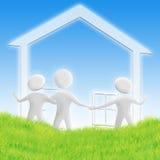 Haus und Familie stock abbildung