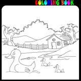 Â-Haus und Garten mit Vieh, Malbuch lizenzfreie stockfotografie