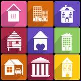 Haus- und Gebäudeikonensatz lizenzfreie abbildung