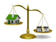 Haus und Geld auf Skalen. Getrenntes 3D stock abbildung