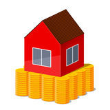 Haus und Goldmünzen Stockbilder