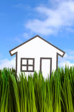 Haus und grünes Gras Stockfotografie