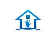 Haus und Handlogo-, -Hausaufgaben-, -innen- und -außenhaus, Sorgfaltmöbel-Designvektor Lizenzfreies Stockfoto