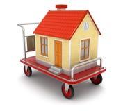 Haus und Handtruck (Beschneidungspfad eingeschlossen) lizenzfreie abbildung