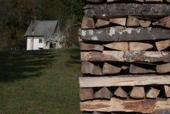 Haus und Heizung horizontal Stockbild