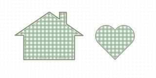 Haus und Herz, Näharbeit Nette Baby-Art Stockbilder