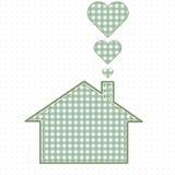 Haus und Herz, Näharbeit Nette Baby-Art Lizenzfreies Stockfoto