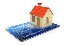 Haus und Kreditkarte (Beschneidungspfad eingeschlossen) Stockfotografie