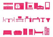 Haus und Möbelikonen Stockbild