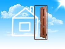 Haus und openning Tür Stockfotos