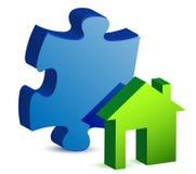 Haus und Puzzlespielstückabbildung Lizenzfreie Stockbilder