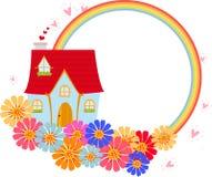 Haus und Regenbogen stock abbildung