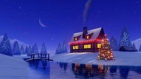Haus- und Tannenbaum verziert für Weihnachten nachts stock footage