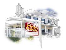 Haus und Verkaufszeichen-Zeichnung und Foto auf Weiß Stockbilder