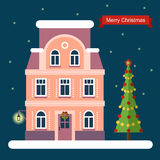 Haus- und Weihnachtsbaum Flache Illustration des Vektors Stockbilder