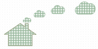 Haus und Wolken vom Kamin Nette Baby-Art Lizenzfreies Stockfoto
