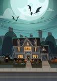 Haus verziert für Halloween-Wohnungsbau Front View With Different Pumpkins, Schläger-Feiertags-Feier-Konzept Stockbild