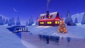 Haus verziert für Weihnachten nahe gefrorenem Fluss nachts stock video footage